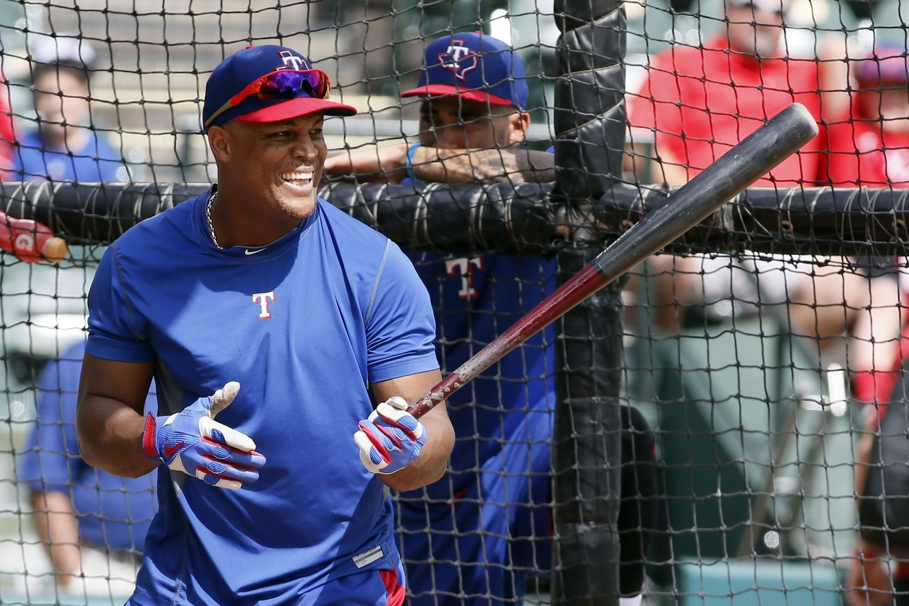 Oct 6, 2016; Arlington, TX, USA; Texas Rangers third baseman Adrian Beltre (29) takes batting practice before the game against theToronto Blue Jays in game one of the 2016 ALDS playoff baseball game at Globe Life Park in Arlington. Mandatory Credit: Tim Heitman-USA TODAY Sports