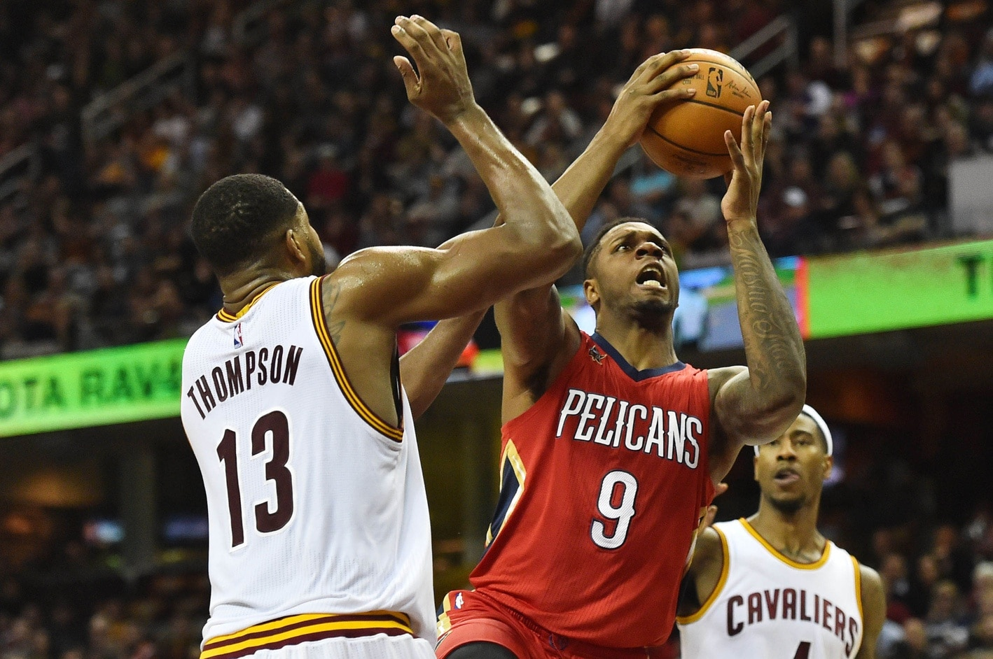 Jan 2, 2017; Cleveland, OH, USA; New Orleans Pelicans forward Terrence Jones (9) drives to the basket against Cleveland Cavaliers center Tristan Thompson (13) during the first half at Quicken Loans Arena. Mandatory Credit: Ken Blaze-USA TODAY Sports