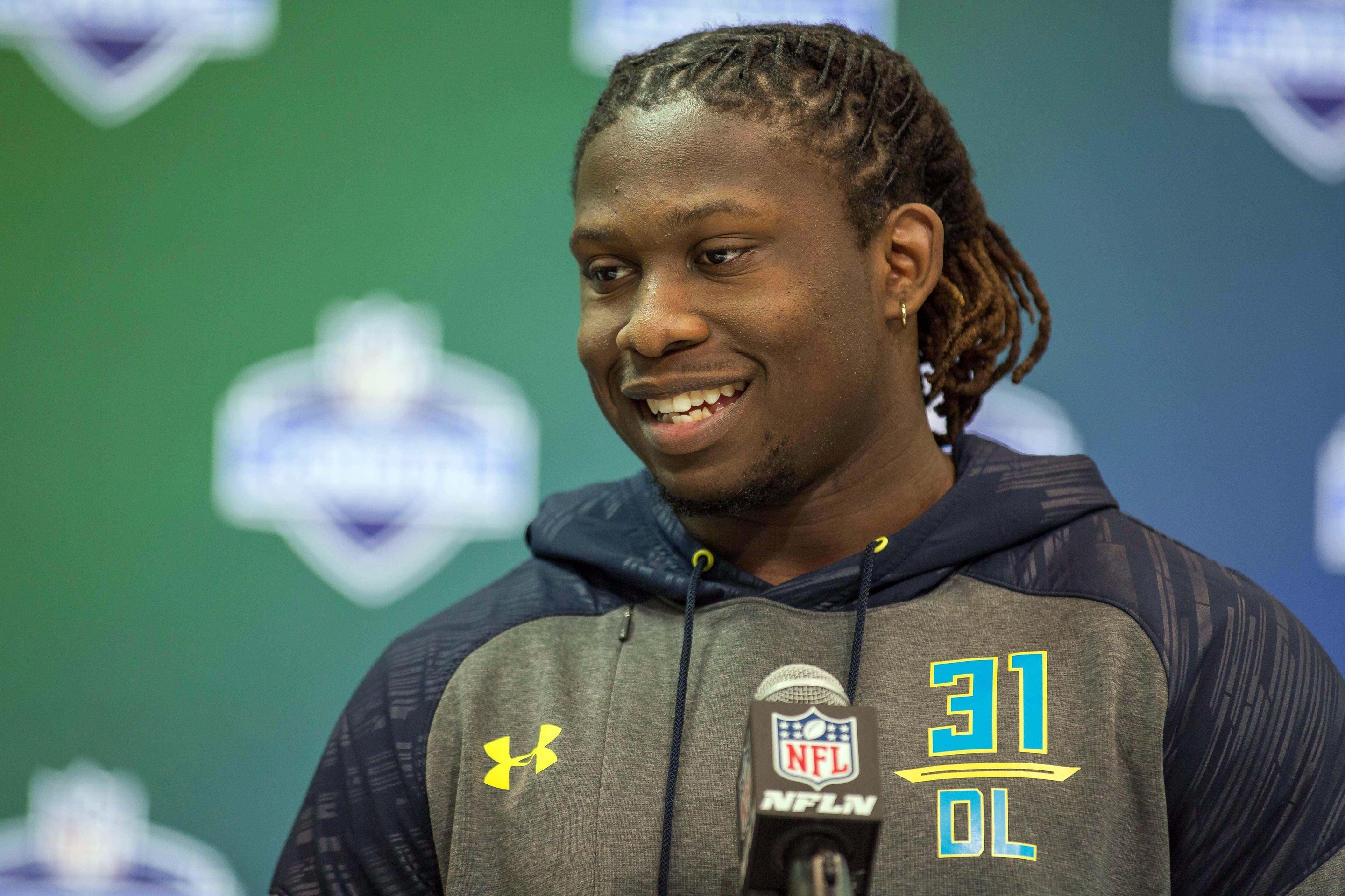 Mar 4, 2017; Indianapolis, IN, USA; UCLA defensive end Takkarist Mckinley speaks to the media during the 2017 combine at Indiana Convention Center. Mandatory Credit: Trevor Ruszkowski-USA TODAY Sports