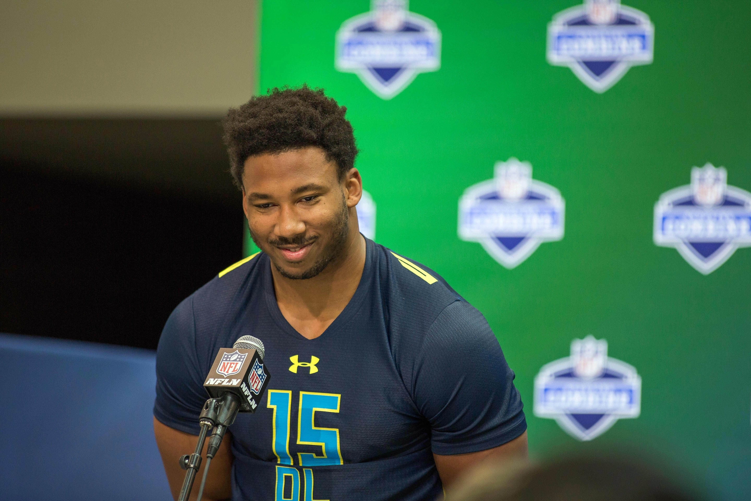 Mar 4, 2017; Indianapolis, IN, USA; Texas A&M defensive end Myles Garrett speaks to the media during the 2017 combine at Indiana Convention Center. Mandatory Credit: Trevor Ruszkowski-USA TODAY Sports
