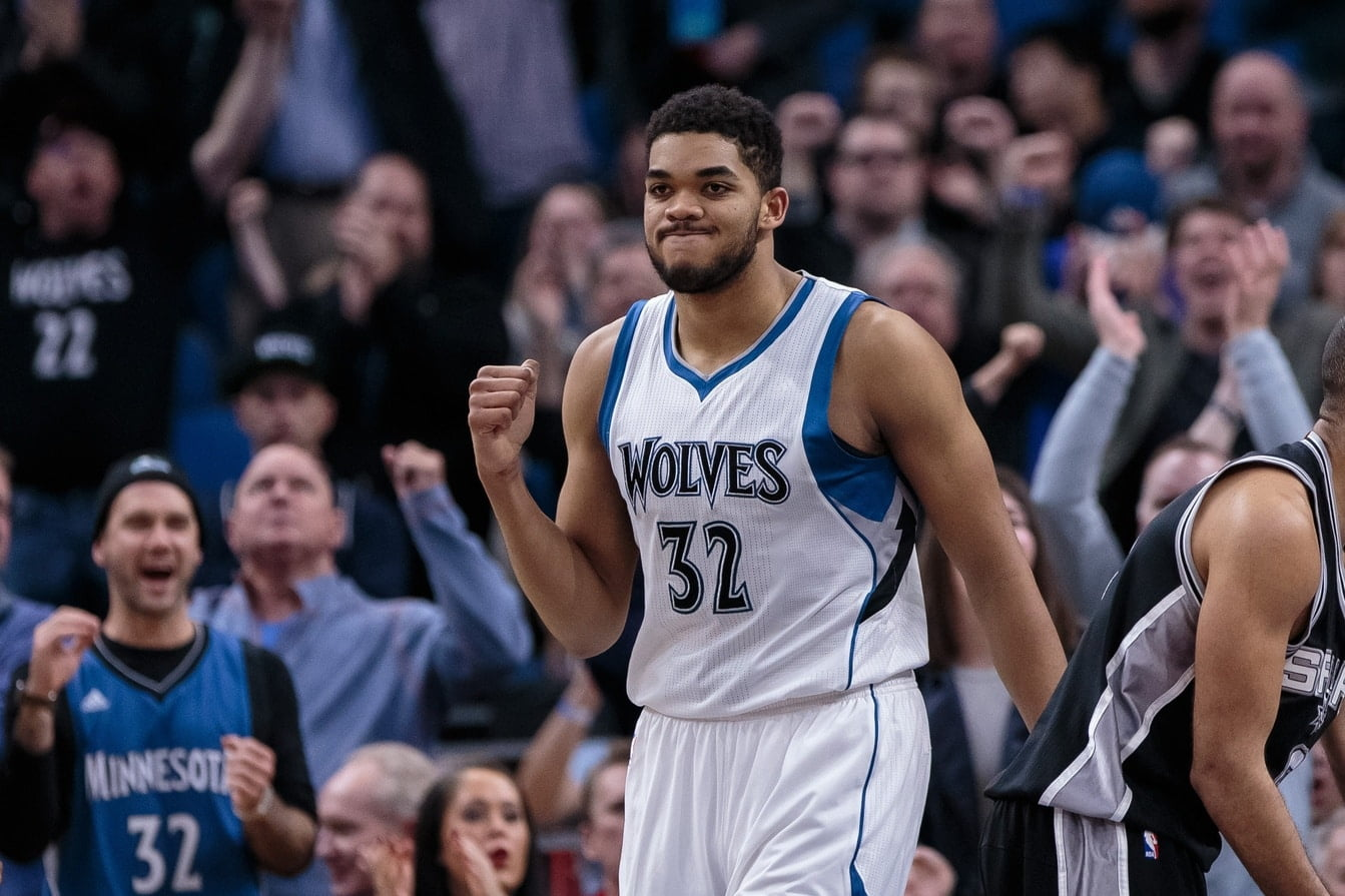 Mar 21, 2017; Minneapolis, MN, USA; Minnesota Timberwolves center Karl-Anthony Towns (32) celebrates his basket in the fourth quarter against the San Antonio Spurs at Target Center. The San Antonio Spurs beat the Minnesota Timberwolves 100-93. Mandatory Credit: Brad Rempel-USA TODAY Sports