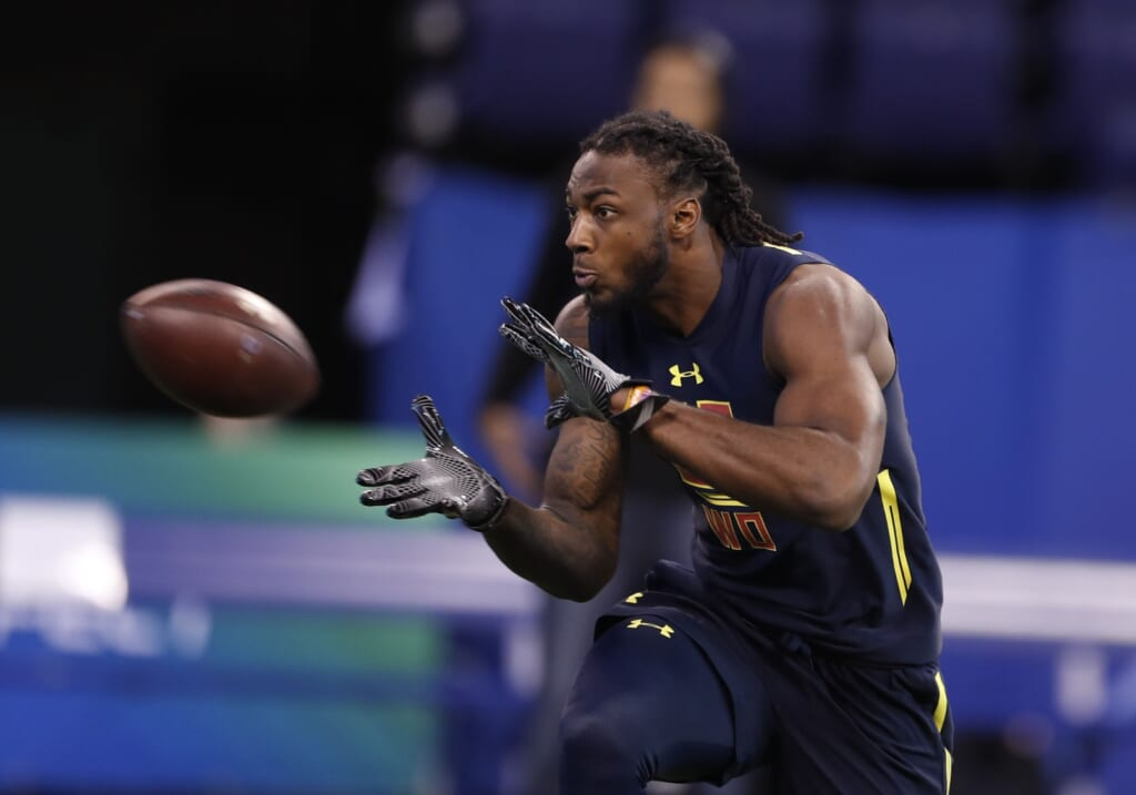 Mar 4, 2017; Indianapolis, IN, USA; Clemson Tigers wide receiver Mike Williams goes through pass catching workout drills during the 2017 NFL Combine at Lucas Oil Stadium. Mandatory Credit: Brian Spurlock-USA TODAY Sports