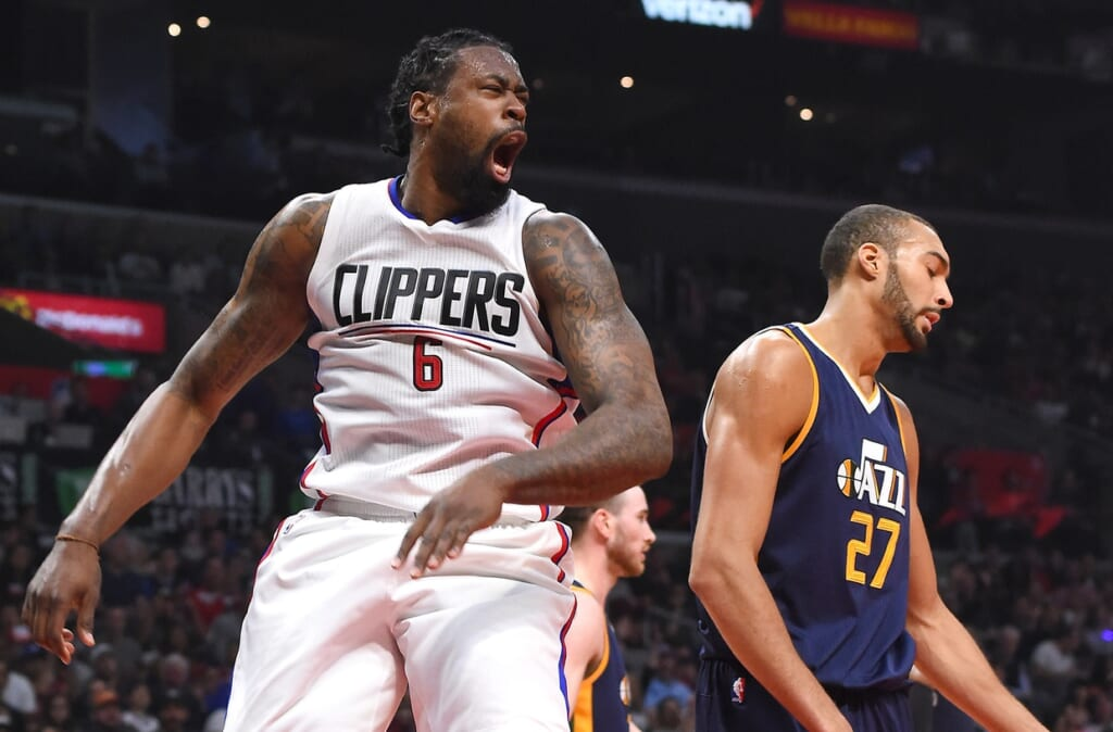 Caption: Mar 25, 2017; Los Angeles, CA, USA; Los Angeles Clippers center DeAndre Jordan (6) reacts after a dunk over Utah Jazz center Rudy Gobert (27) in the first half of the game at Staples Center. Mandatory Credit: Jayne Kamin-Oncea-USA TODAY Sports