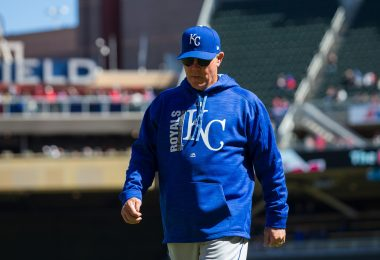 Apr 6, 2017; Minneapolis, MN, USA; Kansas City Royals manager Ned Yost walks back to the dugout in the sixth inning against the Minnesota Twins at Target Field. The Twins beat the Royals 5-3. Mandatory Credit: Brad Rempel-USA TODAY Sports