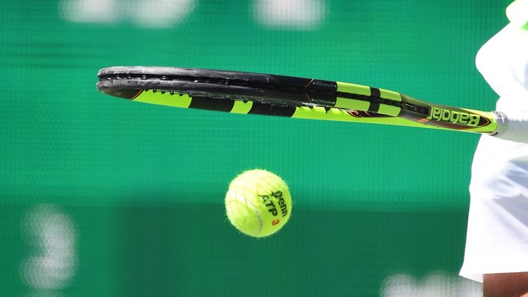 Caption: Mar 12, 2017; Indian Wells, CA, USA; Rafael Nadal (ESP) bounces the ball as he gets set to serve during his second round match as he defeated Guido Pella (not pictured) in the BNP Paribas Open at the Indian Wells Tennis Garden. Nadal won 6-3, 6-2. Mandatory Credit: Jayne Kamin-Oncea-USA TODAY Sports