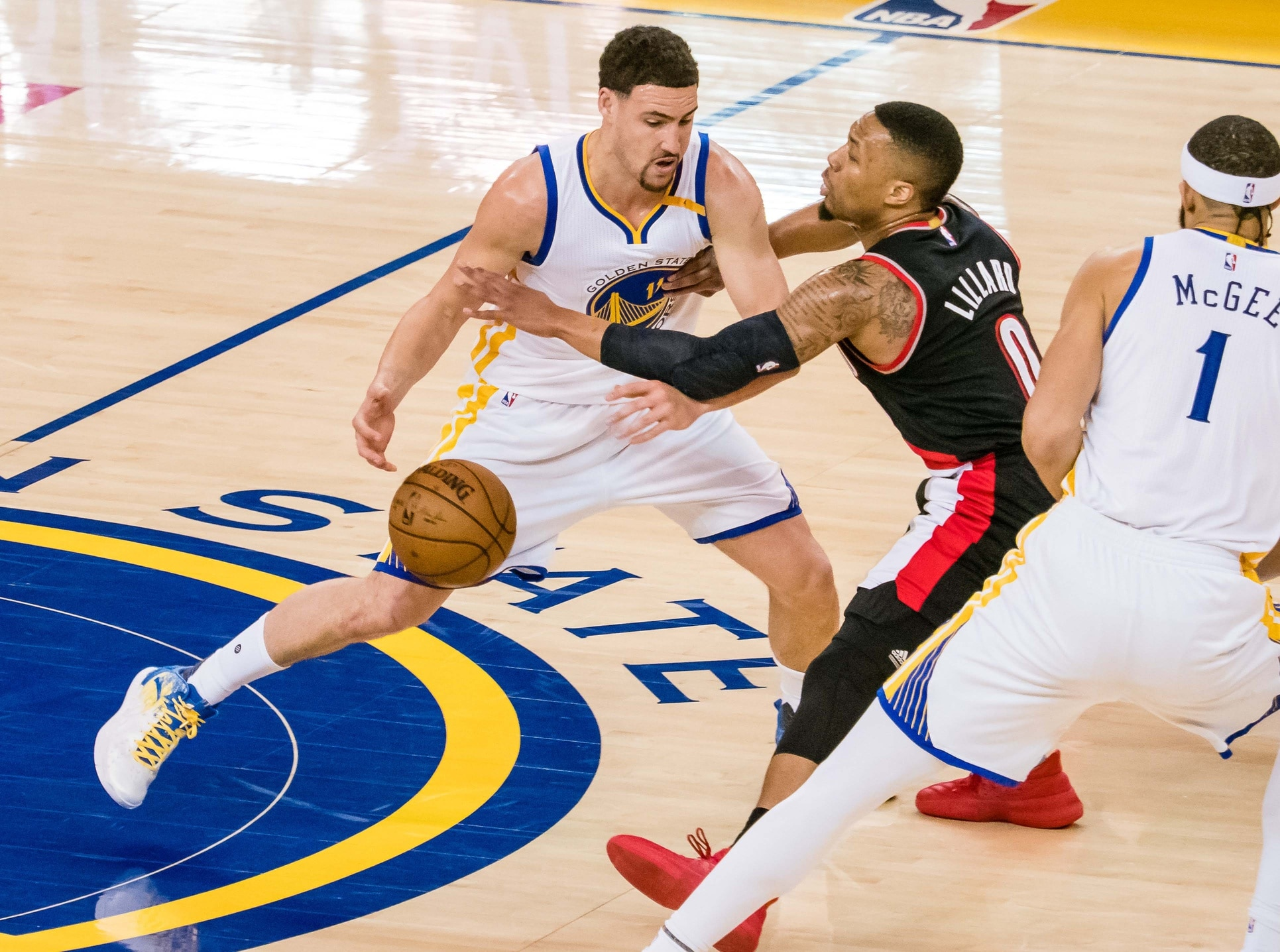 Caption: Apr 19, 2017; Oakland, CA, USA; Golden State Warriors guard Klay Thompson (11) against Portland Trail Blazers guard Damian Lillard (0) during the first quarter in game two of the first round of the 2017 NBA Playoffs at Oracle Arena. Mandatory Credit: Kelley L Cox-USA TODAY Sports