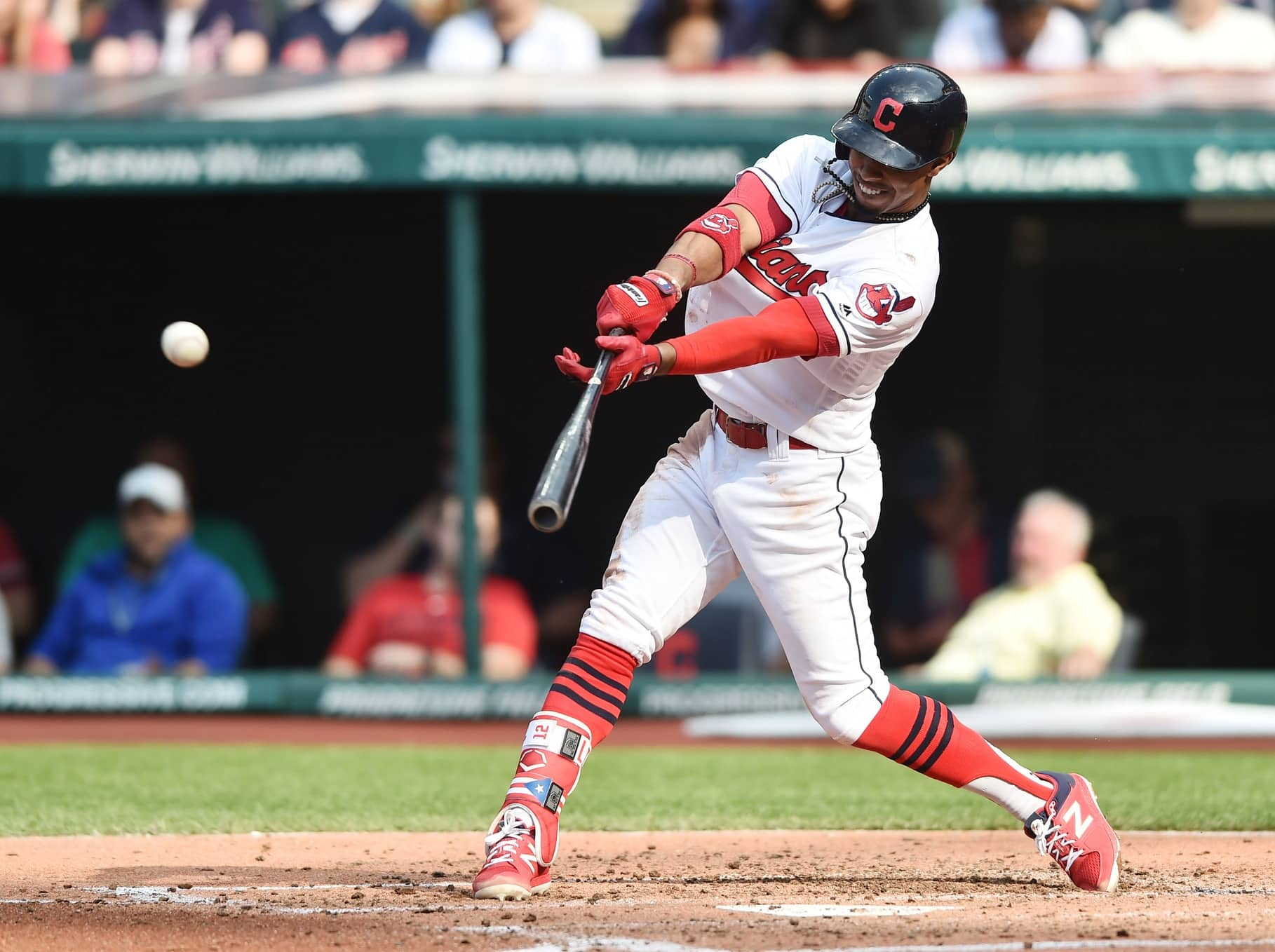 Apr 15, 2017; Cleveland, OH, USA; Cleveland Indians shortstop Francisco Lindor hits a single during the second inning against the Detroit Tigers at Progressive Field. Mandatory Credit: Ken Blaze-USA TODAY Sports