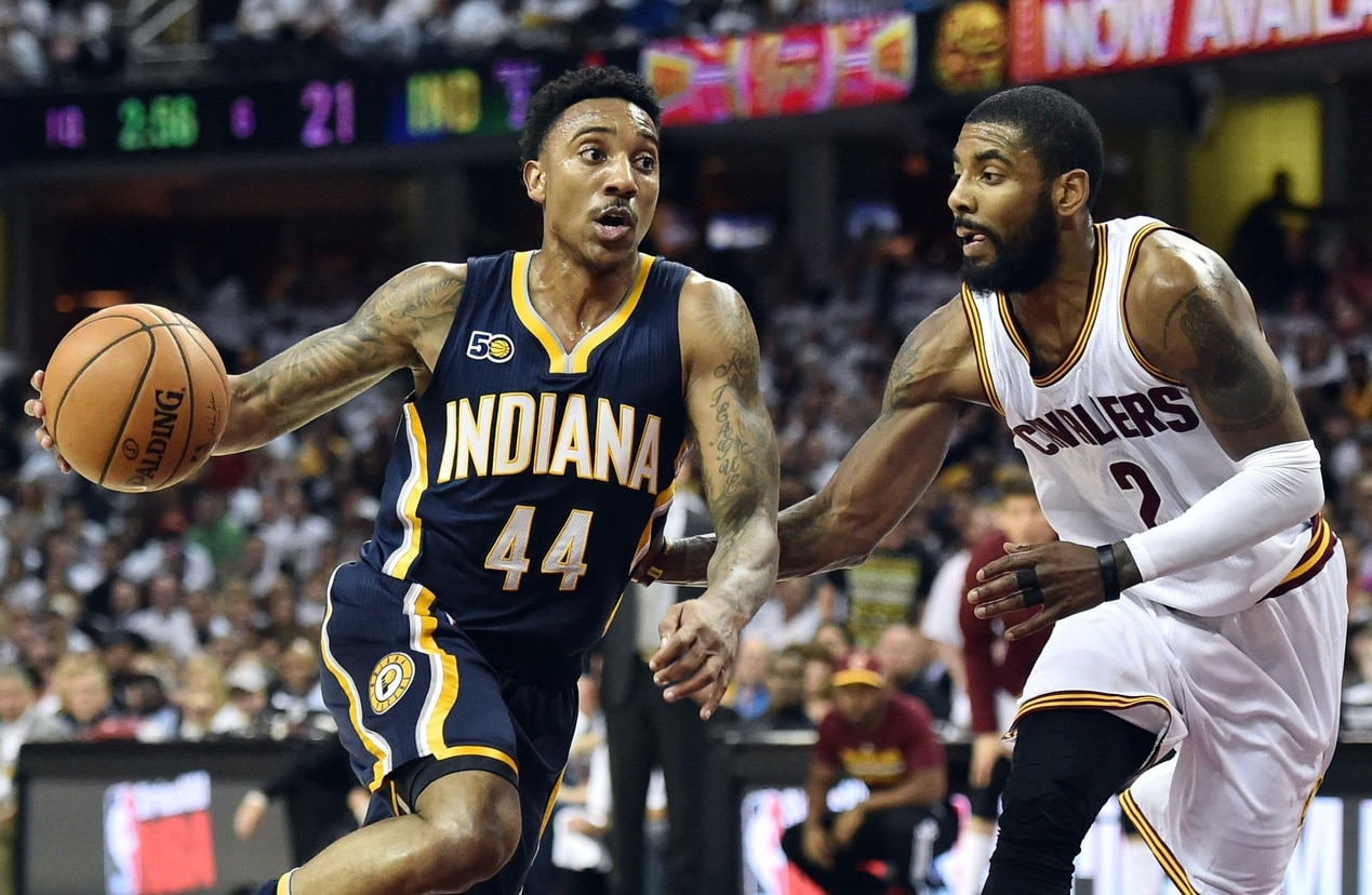Caption: Apr 17, 2017; Cleveland, OH, USA; Indiana Pacers guard Jeff Teague (44) drives to the basket against Cleveland Cavaliers guard Kyrie Irving (2) during the first half in game two of the first round of the 2017 NBA Playoffs at Quicken Loans Arena. Mandatory Credit: Ken Blaze-USA TODAY Sports