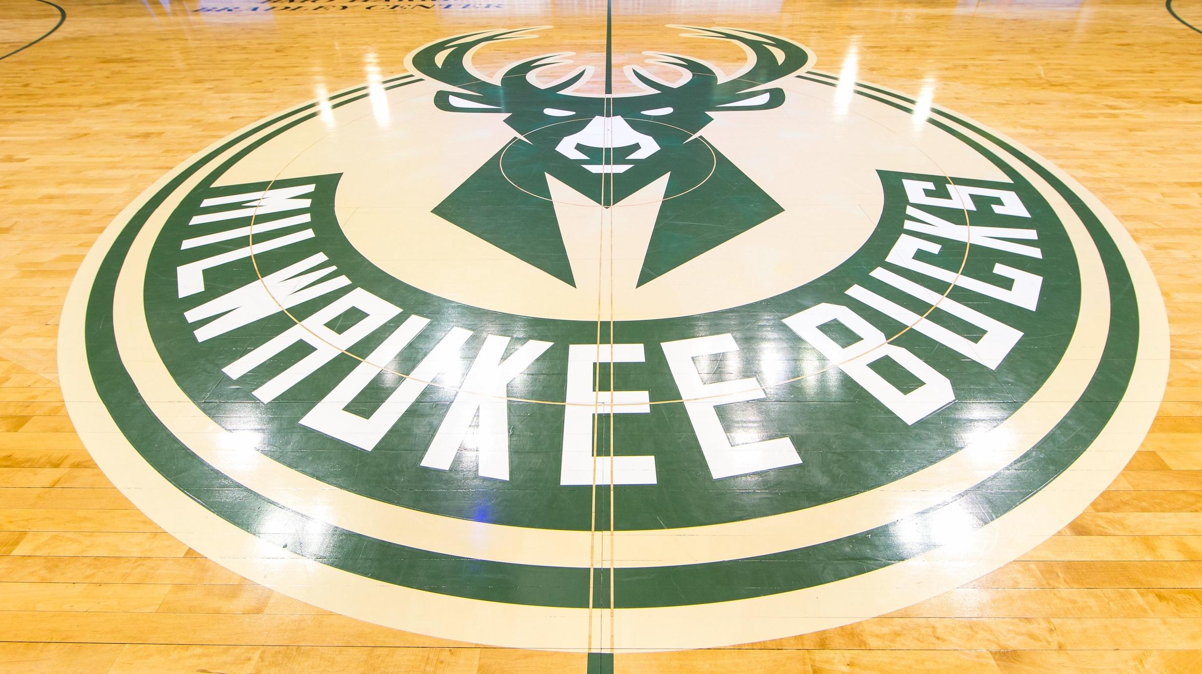 Caption: Mar 30, 2016; Milwaukee, WI, USA; The Milwaukee Bucks logo on the floor prior o the game against the Phoenix Suns at BMO Harris Bradley Center. Milwaukee won 105-94. Mandatory Credit: Jeff Hanisch-USA TODAY Sports