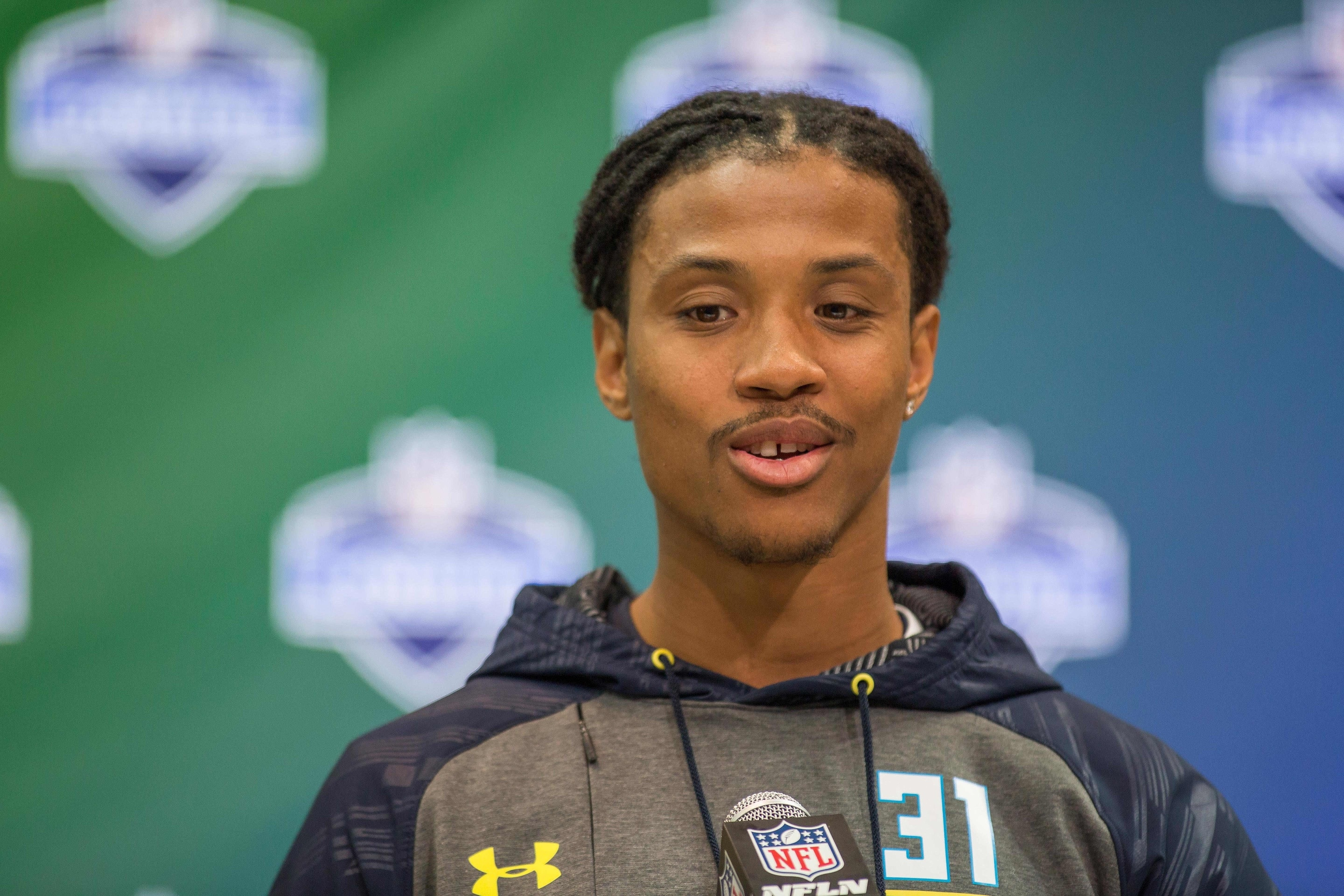 Mar 5, 2017; Indianapolis, IN, USA; Washington defensive back Kevin King speaks to the media during the 2017 combine at Indiana Convention Center. Mandatory Credit: Trevor Ruszkowski-USA TODAY Sports