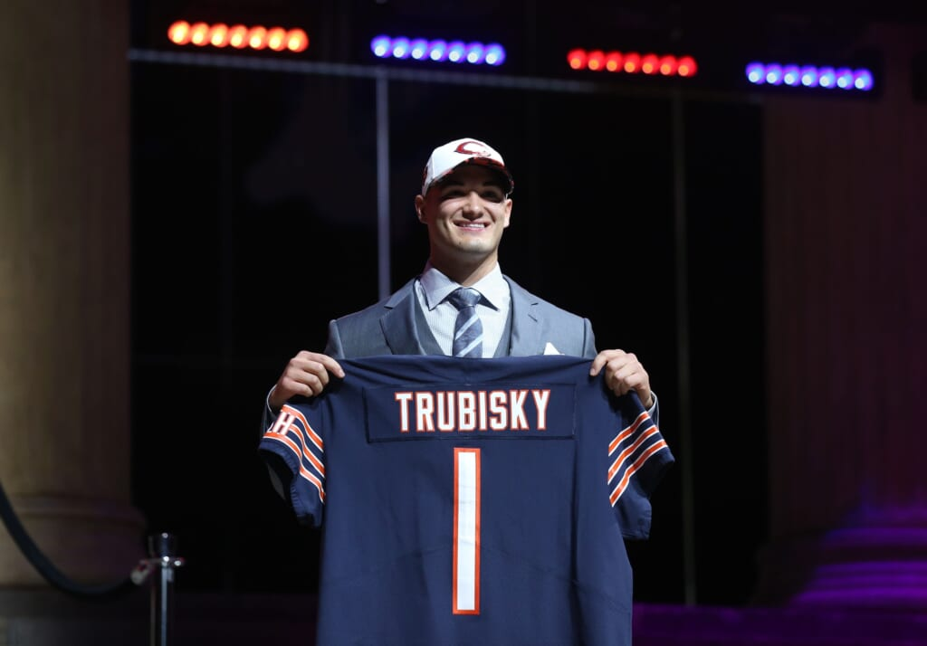 Apr 27, 2017; Philadelphia, PA, USA; Mitchell Trubisky (North Carolina) is selected as the number 2 overall pick to the Chicago Bears in the first round the 2017 NFL Draft at Philadelphia Museum of Art. Mandatory Credit: Bill Streicher-USA TODAY Sports