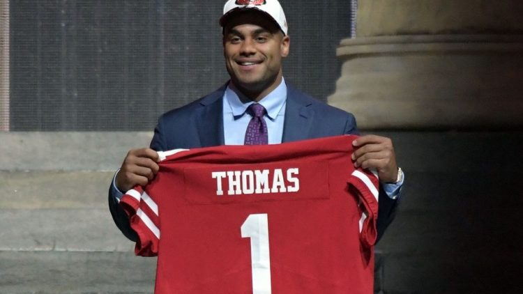 Apr 27, 2017; Philadelphia, PA, USA; Solomon Thomas (Stanford) is selected as the number 3 overall pick to the San Francisco 49ers in the first round the 2017 NFL Draft at the Philadelphia Museum of Art. Mandatory Credit: Kirby Lee-USA TODAY Sport