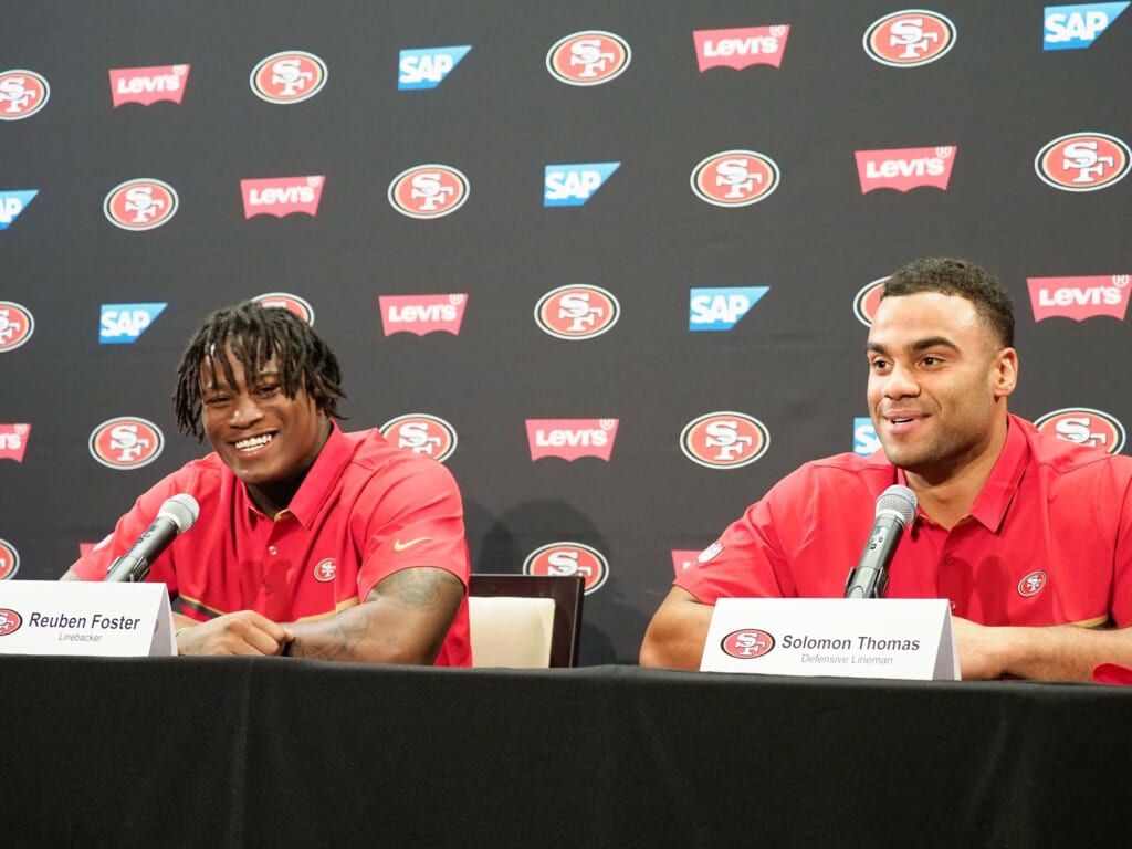 Apr 28, 2017; Santa Clara, CA, USA; (l to r) San Francisco 49ers first round draft picks Reuben Foster and Solomon Thomas answers questions from the media during the press conference at Levi's Stadium Auditorium. Mandatory Credit: Stan Szeto-USA TODAY Sports