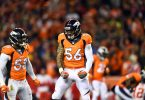 Nov 27, 2016; Denver, CO, USA; Denver Broncos outside linebacker Von Miller (58) and outside linebacker Shane Ray (56) react to a defensive stop in the first quarter against the Kansas City Chiefs at Sports Authority Field at Mile High. Mandatory Credit: Ron Chenoy-USA TODAY Sports