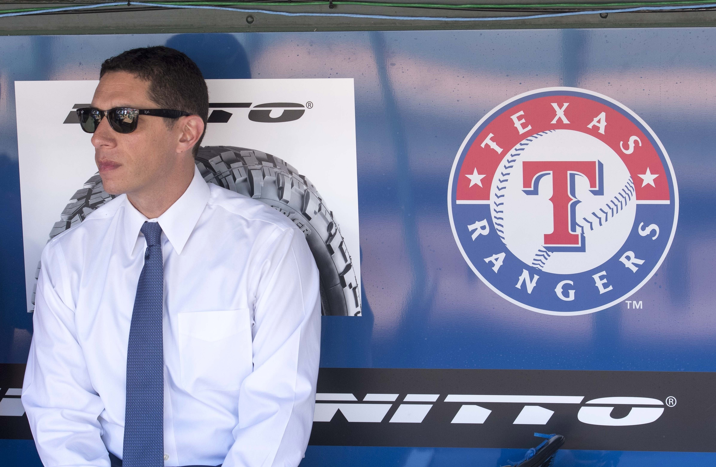 Apr 3, 2017; Arlington, TX, USA; Texas Rangers general manager Jon Daniels watches batting practice before the game between the Rangers and the Cleveland Indians at Globe Life Park in Arlington. Mandatory Credit: Jerome Miron-USA TODAY Sports