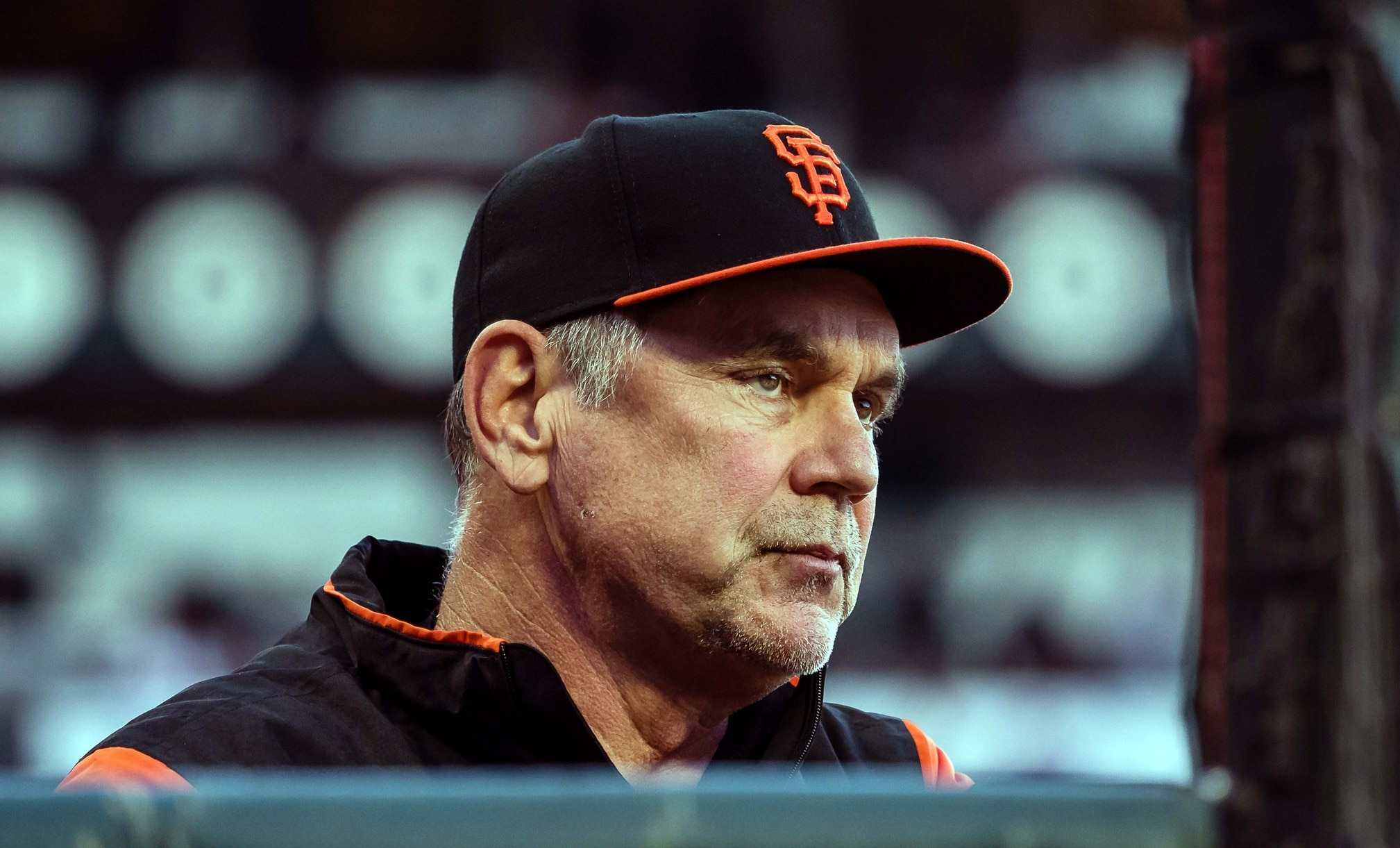 Caption: Apr 29, 2017; San Francisco, CA, USA; San Francisco Giants manager Bruce Bochy (15) in the dugout during the fifth inning against the San Diego Padres at AT&T Park. Mandatory Credit: Kelley L Cox-USA TODAY Sports