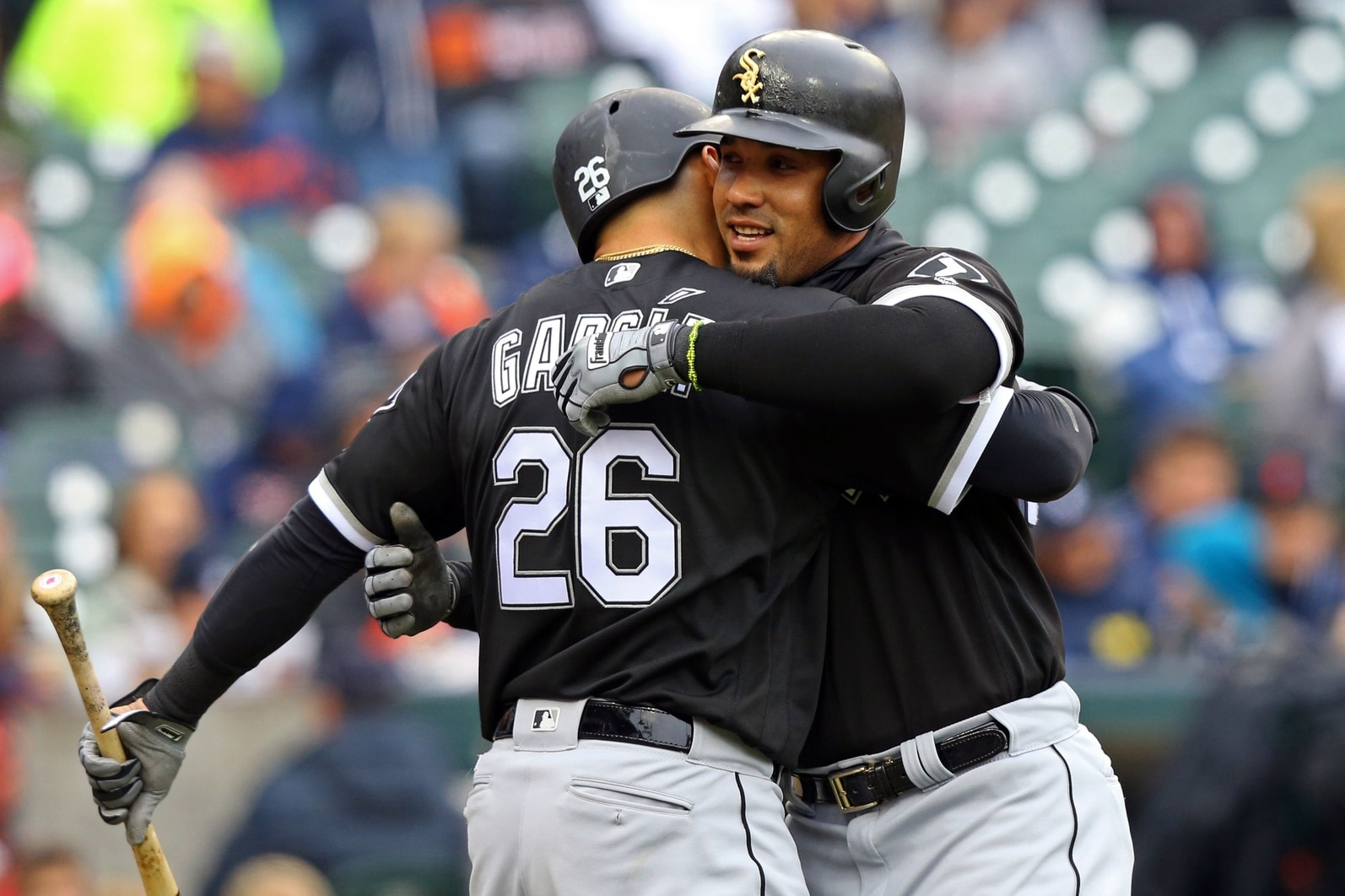 Apr 29, 2017; Detroit, MI, USA; Chicago White Sox first baseman Jose Abreu (right) hugs right fielder Avisail Garcia (26) after hitting a home run against the Detroit Tigers in the third inning at Comerica Park. Mandatory Credit: Aaron Doster-USA TODAY
