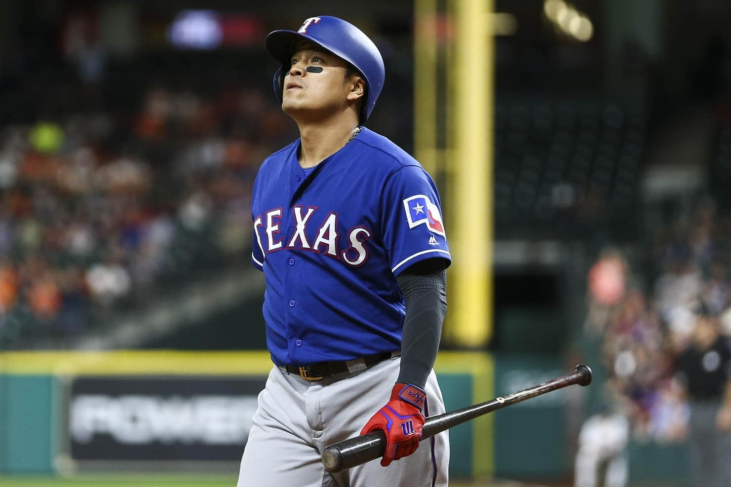 May 1, 2017; Houston, TX, USA; Texas Rangers designated hitter Shin-Soo Choo (17) reacts after striking out during the eighth inning against the Houston Astros at Minute Maid Park. Mandatory Credit: Troy Taormina-USA TODAY Sports