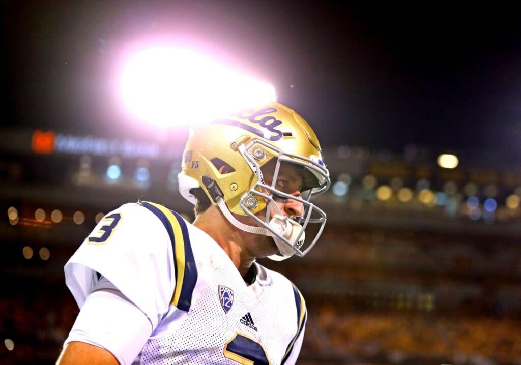 Caption: Oct 8, 2016; Tempe, AZ, USA; UCLA Bruins quarterback Josh Rosen (3) against the Arizona State Sun Devils at Sun Devil Stadium. Mandatory Credit: Mark J. Rebilas-USA TODAY Sports
