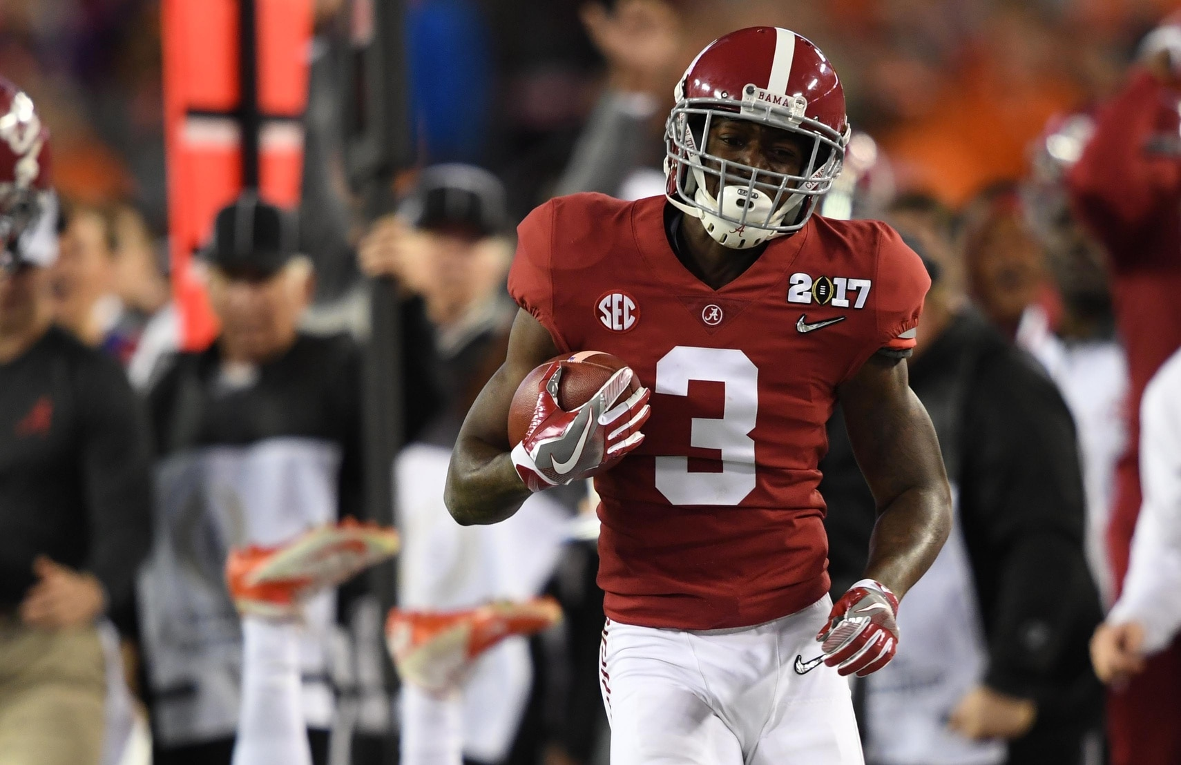 Caption: Jan 9, 2017; Tampa, FL, USA; Alabama Crimson Tide wide receiver Calvin Ridley (3) runs the ball during the second quarter against the Clemson Tigers in the 2017 College Football Playoff National Championship Game at Raymond James Stadium. Mandatory Credit: John David Mercer-USA TODAY Sports