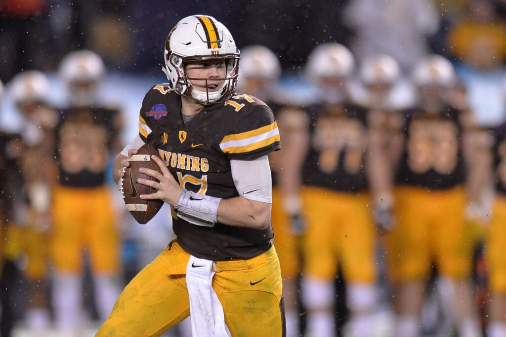 Dec 21, 2016; San Diego, CA, USA; Wyoming Cowboys quarterback Josh Allen (17) looks to pass during the third quarteragainst the Brigham Young Cougars at Qualcomm Stadium. Mandatory Credit: Jake Roth-USA TODAY Sports