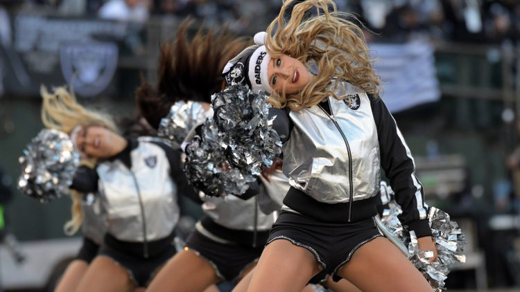 Caption: Dec 24, 2016; Oakland, CA, USA; Oakland Raiders raiderette cheerleaders pose during a NFL football game against the Indianapolis Colts at Oakland-Alameda Coliseum. Mandatory Credit: Kirby Lee-USA TODAY Sports Created: