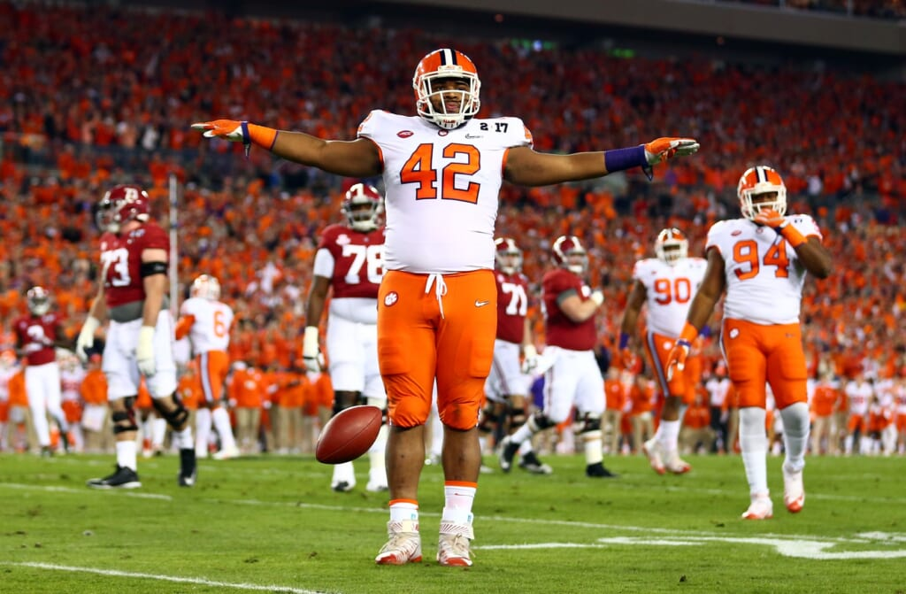 Jan 9, 2017; Tampa, FL, USA; Clemson Tigers defensive lineman Christian Wilkins (42) reacts after a defense play during the first quarter against the Alabama Crimson Tide in the 2017 College Football Playoff National Championship Game at Raymond James Stadium. Mandatory Credit: Mark J. Rebilas-USA TODAY Sports