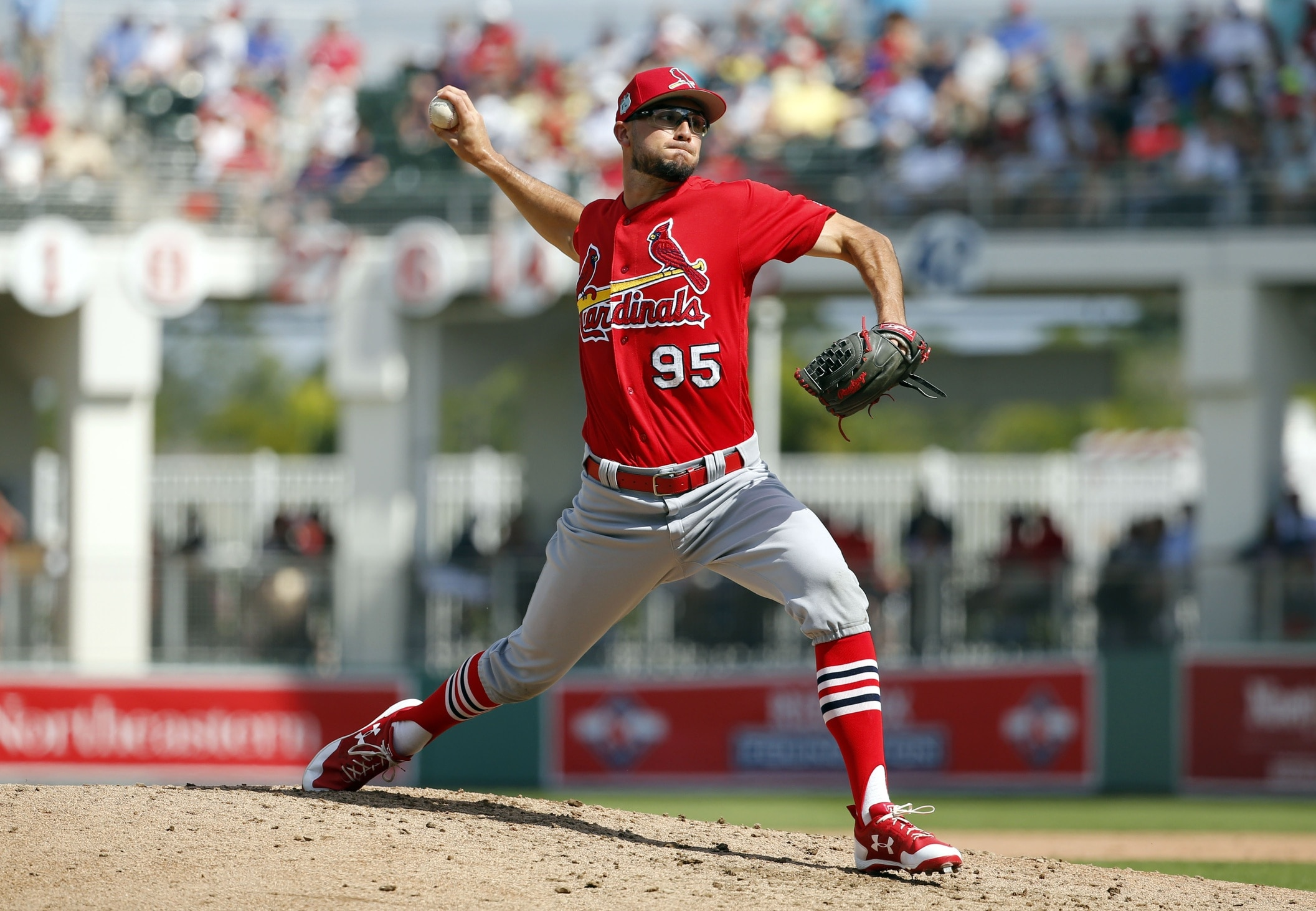 Feb 27, 2017; Fort Myers, FL, USA; St. Louis Cardinals pitcher Daniel Poncedeleon (95) throws a pitch during the fourth inning against the Boston Red Sox at JetBlue Park. Mandatory Credit: Kim Klement-USA TODAY Sports
