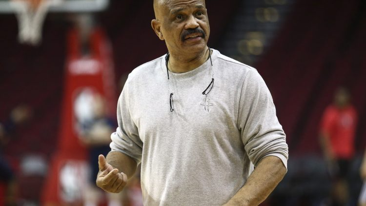 Caption: Feb 27, 2017; Houston, TX, USA; Houston Rockets coach and former player John Lucas reacts before a game against the Indiana Pacers at Toyota Center. Mandatory Credit: Troy Taormina-USA TODAY Sports