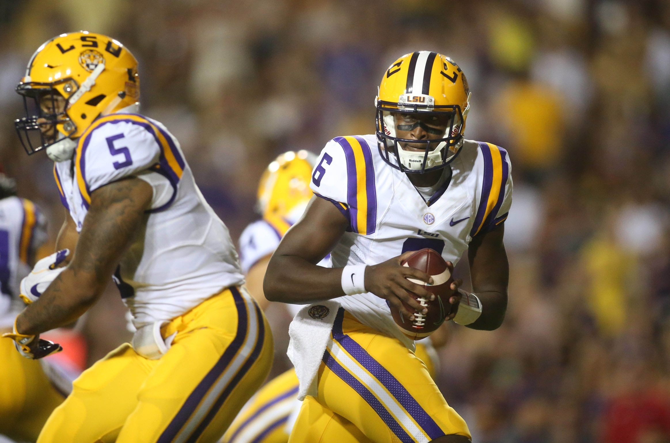 Sep 10, 2016; Baton Rouge, LA, USA; LSU Tigers quarterback Brandon Harris (6) looks to pass the ball in the first quarter against the Jacksonville State Gamecocks at Tiger Stadium. Mandatory Credit: Crystal LoGiudice-USA TODAY Sports