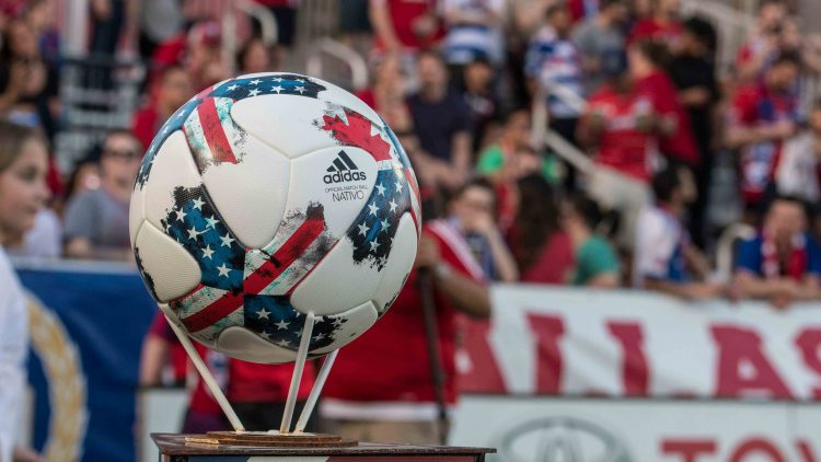 18, 2017; Frisco, TX, USA; A view of the game ball and team logo before the game between FC Dallas and the New England Revolution at Toyota Stadium. FC Dallas defeats New England Revolution 2-1. Mandatory Credit: Jerome Miron-USA TODAY Sports
