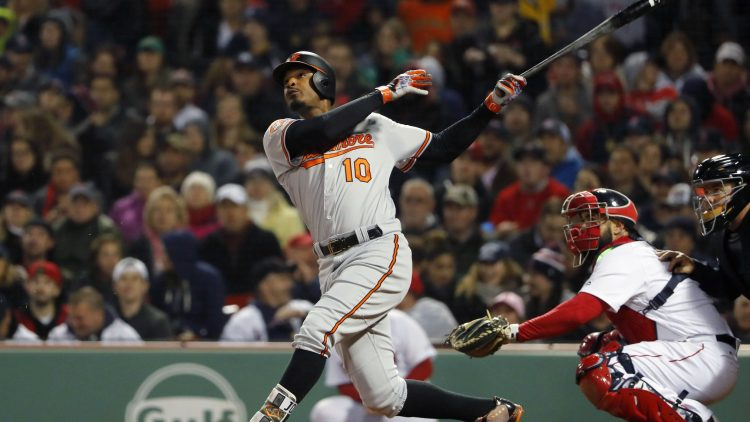 May 1, 2017; Boston, MA, USA; Baltimore Orioles center fielder Adam Jones (10) follows through during the sixth inning against the Boston Red Sox at Fenway Park. Mandatory Credit: Winslow Townson-USA TODAY Sports