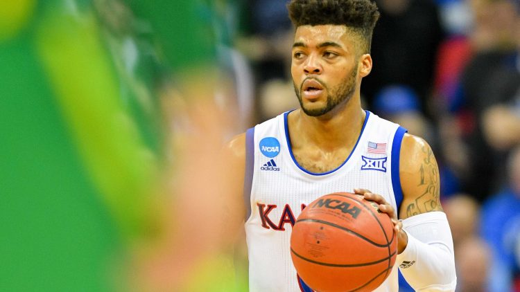 Mar 25, 2017; Kansas City, MO, USA; Kansas Jayhawks guard Frank Mason III (0) dribbles during the second half against the Oregon Ducks in the finals of the Midwest Regional of the 2017 NCAA Tournament at Sprint Center. Oregon defeated Kansas 74-60. Mandatory Credit: Denny Medley-USA TODAY Sports