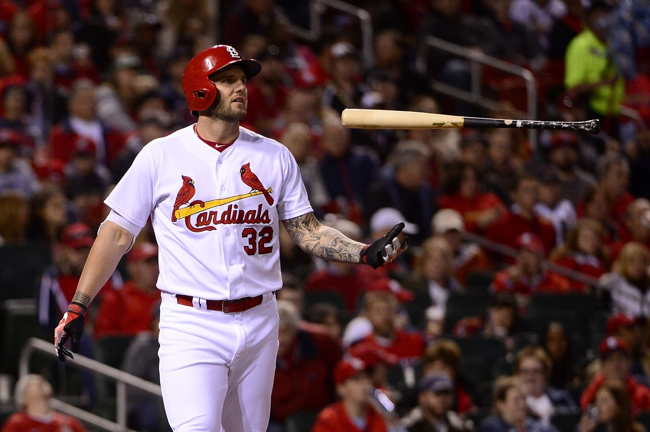 Apr 7, 2017; St. Louis, MO, USA; St. Louis Cardinals first baseman Matt Adams (32) flips his bat after striking out against Cincinnati Reds relief pitcher Raisel Iglesias (not pictured) during the eighth inning at Busch Stadium. The Reds won 2-0. Mandatory Credit: Jeff Curry-USA TODAY Sports