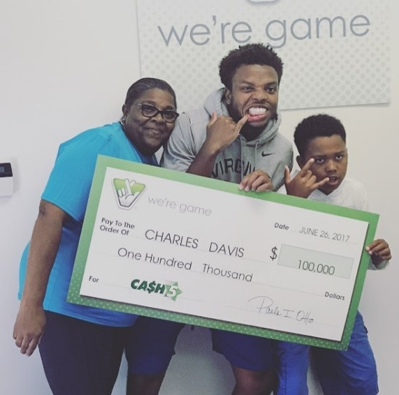University of Virginia football player wins $100K lottery