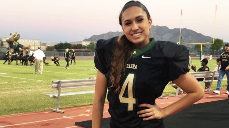 Becca Lonzo looking to becomes NFL's first female football player.