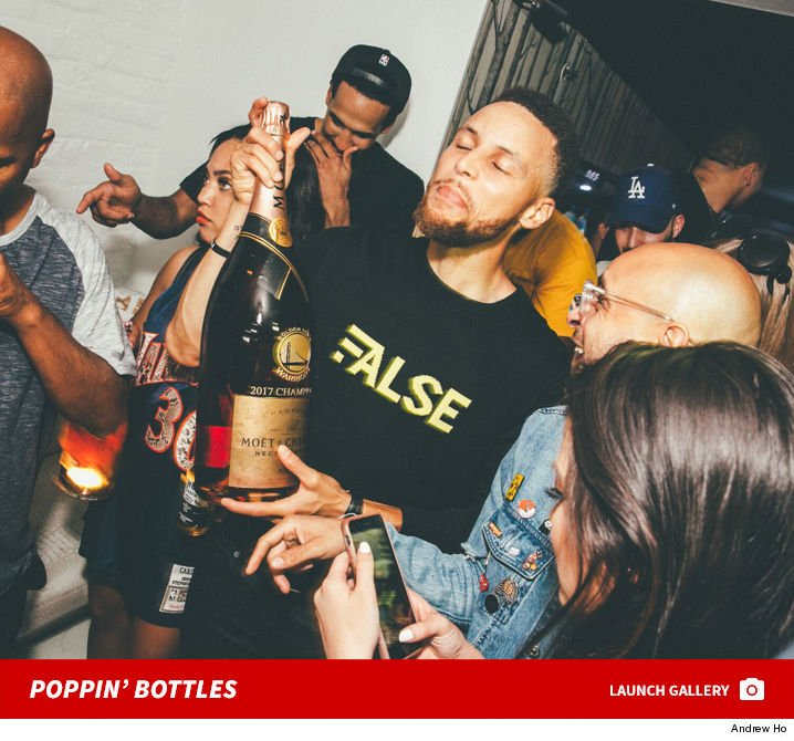 Stephen Curry and the Warriors partied it up big time following their NBA title Monday night.