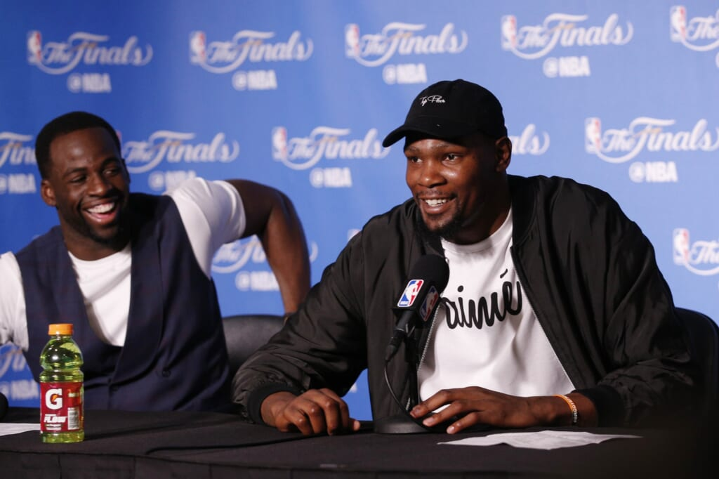 Kevin Durant Draymond Green press conference Game 2 NBA Finals