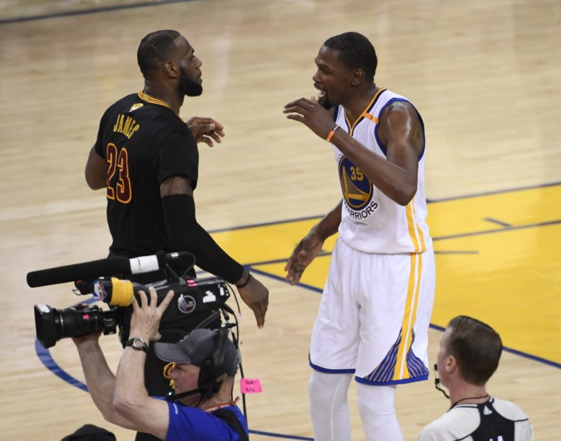 LeBron James and Kevin Durant after Game 5 of the 2017 NBA Finals