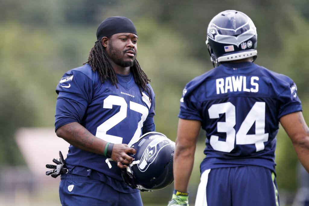 Eddie Lacy Seattle Seahawks practice NFL training camp battles