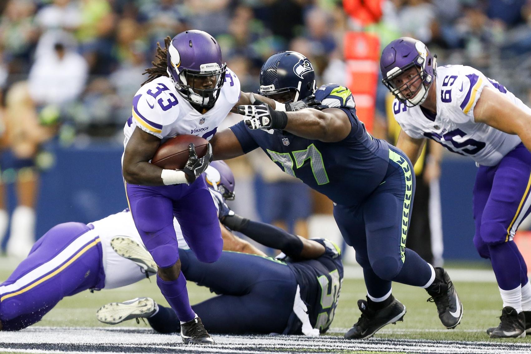 Minnesota Vikings running back Dalvin Cook against the Seattle Seahawks in NFL preseason Week 2