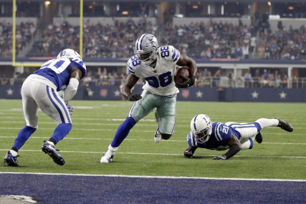 Dallas Cowboys receiver Dez Bryant scores a touchdown against the Colts in NFL preseason Week 2
