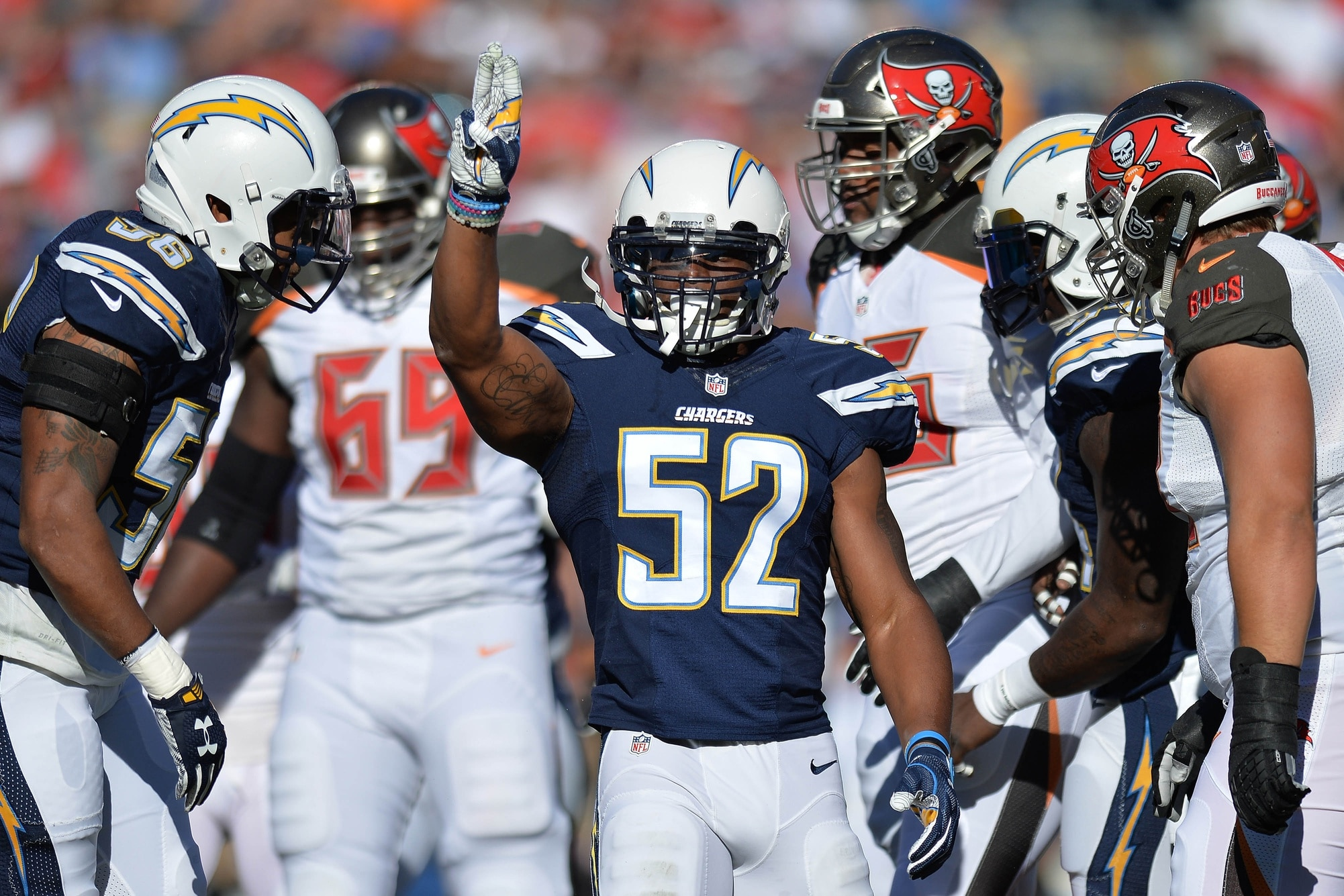 Chargers LB Denzel Perryman carted off field with leg injury.