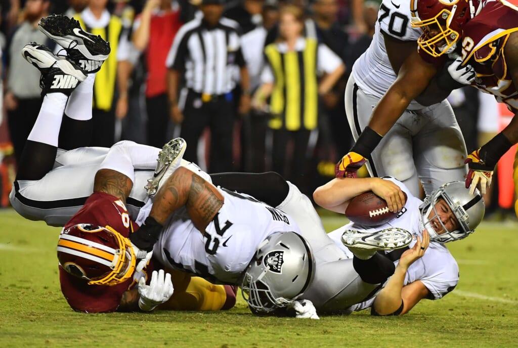 Derek Carr and the Raiders struggle big time on Sunday night.