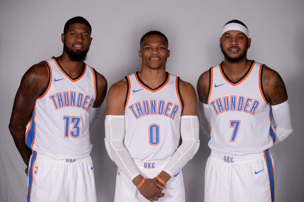 Oklahoma City Thunder Paul George Carmelo Anthony Russell Westbrook