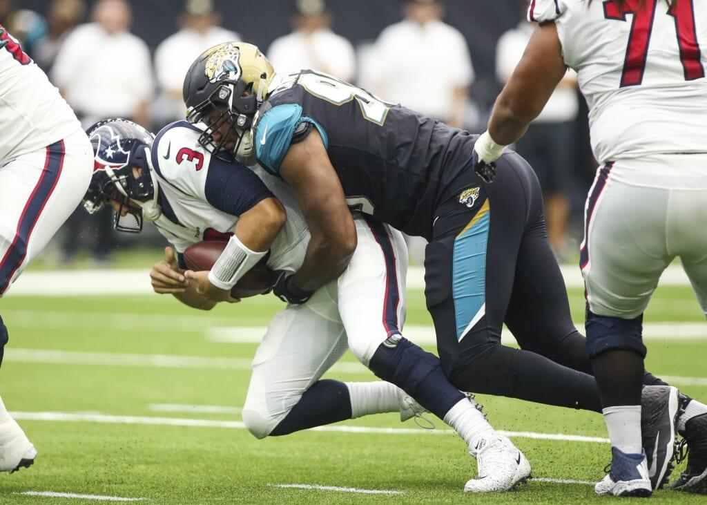 Jacksonville Jaguars defensive end Calais Campbell sacks Houston Texans quarterback Tom Savage