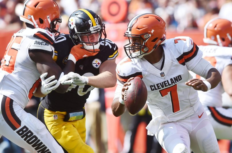 Cleveland Browns quarterback pursued by Pittsburgh Steelers linebacker T.J. Watt in NFL Week 1