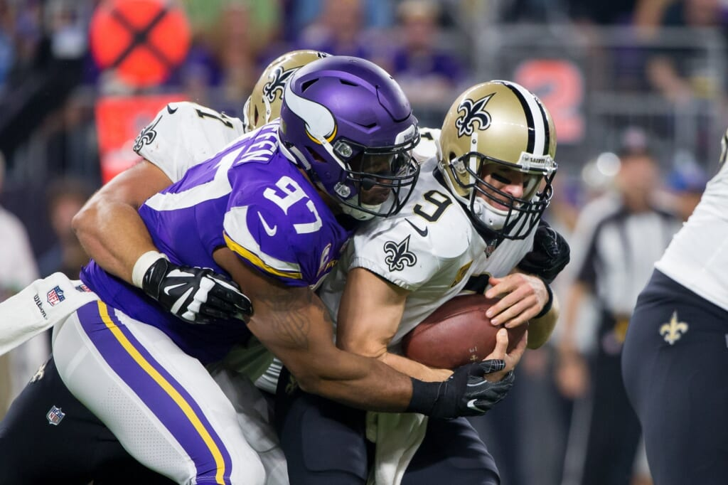 Minnesota Vikings defensive end Everson Griffen sacks New Orleans Saints quarterback Drew Brees on Monday Night Football