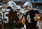 Oakland Raiders receiver Michael Crabtree and quarterback Derek Carr in NFL Week 2