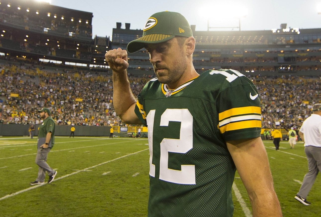 Green Bay Packers quarterback Aaron Rodgers after beating the Cincinnati Bengals in NFL Week 3